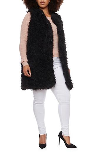 Plus Size Vest in Faux Fur,BLACK,large