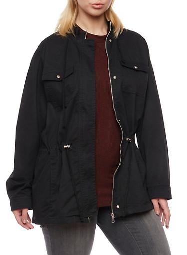 Plus Size Anorak Jacket with Drawstring Waist,BLACK,large