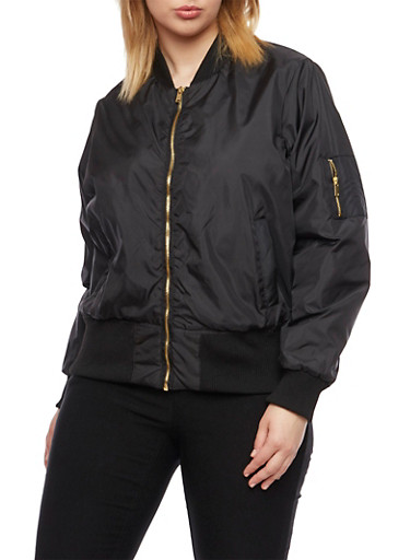 Plus Size Solid Bomber Jacket with Three Pockets,BLACK,large