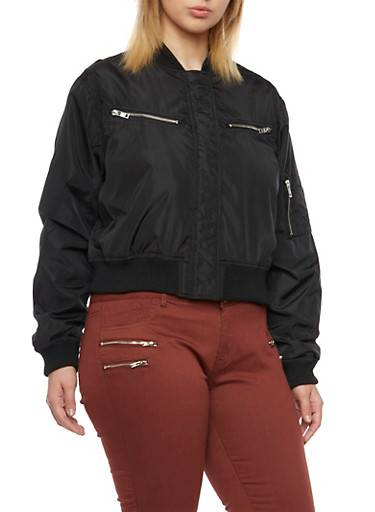 Plus Size Shiny Bomber Jacket with Zipper Pockets,BLACK,large