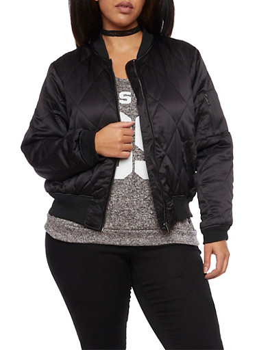 Plus Size Quilted Bomber Jacket,BLACK,large