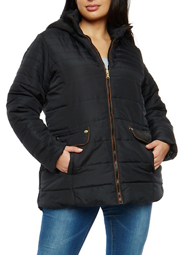Plus Size Puffer Coat with Faux Fur Trimmed Hood,BLACK,large