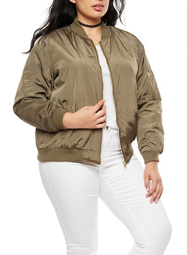 Plus Size Solid Bomber Jacket at Rainbow Shops in Jacksonville, FL | Tuggl