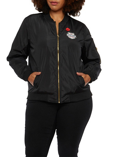 Plus Size Bomber Jacket with Patches,BLACK,large