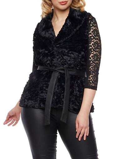 Plus Size Faux Fur Vest with Belt,BLACK,large