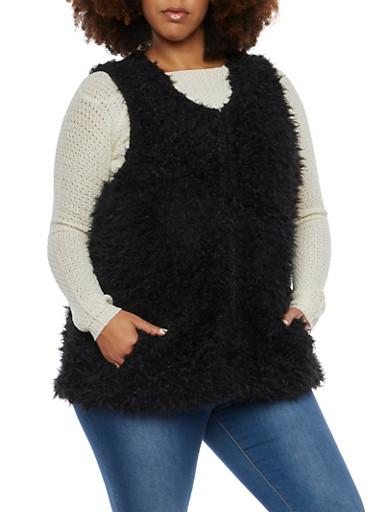 Plus Size Faux Fur Vest,BLACK,large