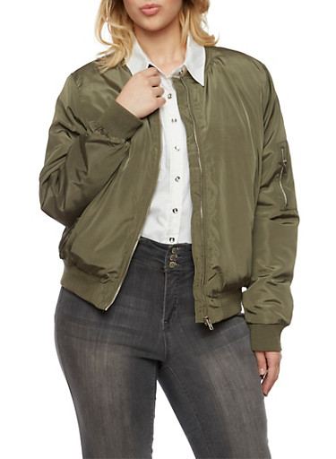 Plus Size Satin Bomber Jacket with Button Pockets,OLIVE,large