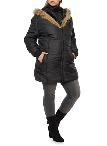 Plus Size Coat with Faux Fur Hood,BLACK,large