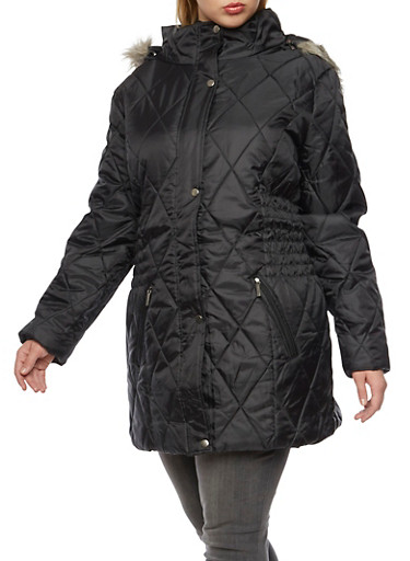 Plus Size Quilted Coat with Faux Fur Trim,BLACK,large