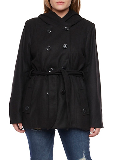 Plus Size Hooded Belt Peacoat,BLACK,large