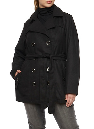 Plus Size Peacoat with Belt,BLACK,large