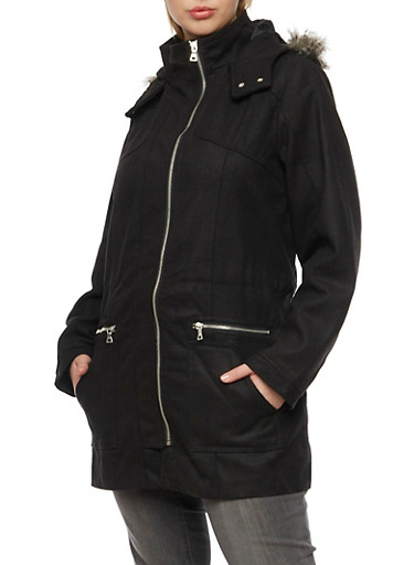 Plus Size Hooded Wool Coat with Zip Front,BLACK,large