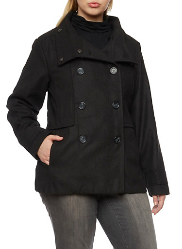 Plus Size Peacoat with Funnel Neck,BLACK,large