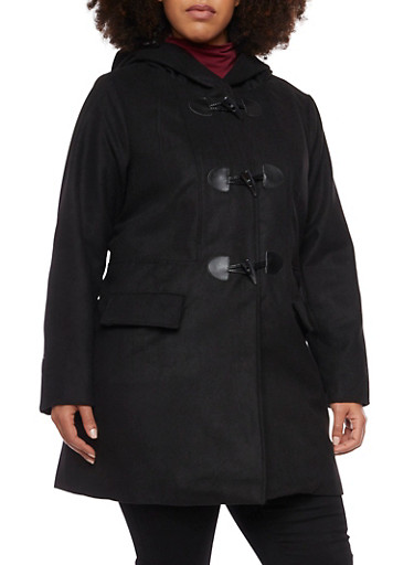 Plus Size Toggle Coat with Attached Hood,BLACK,large
