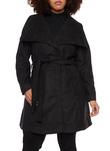 Plus Size Felt Coat with Oversize Collar,BLACK,large