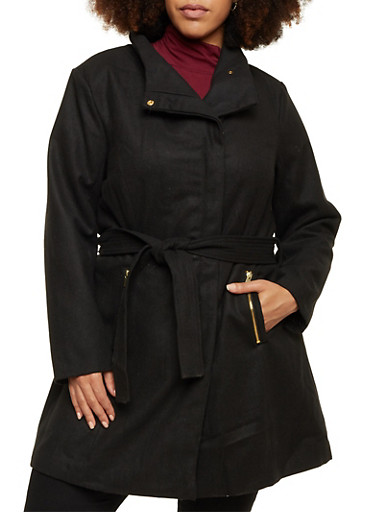Plus Size Funnel Neck Jacket with Zip Pockets,BLACK,large