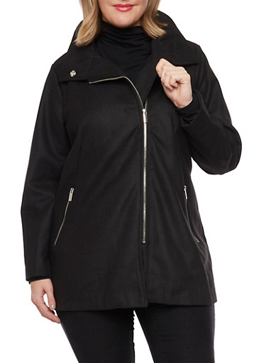 Plus Size Coat with Asymmetrical Zip Front,BLACK,large