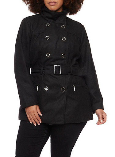 Plus Size Felt Peacoat with Waist Belt,BLACK,large