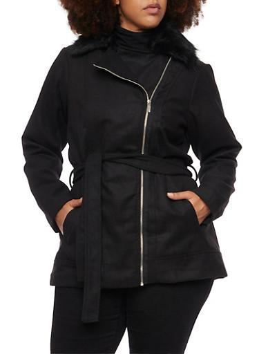 Plus Size Asymmetrical Zip Jacket with Fur Collar,BLACK,large