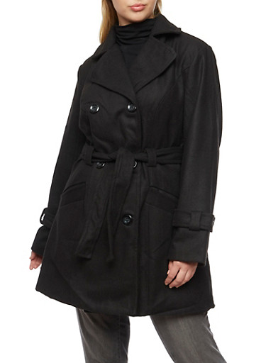 Plus Size Wool Peacoat with Removable Belt,BLACK,large