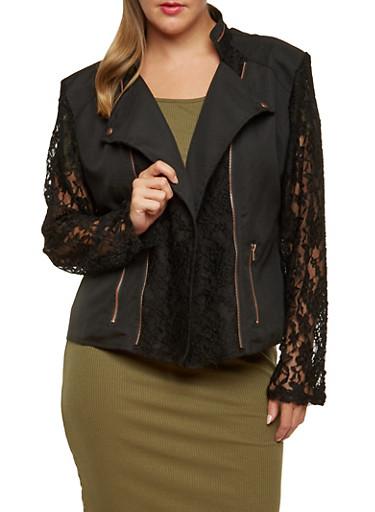 Plus Size Moto Jacket with Lace Detail,BLACK,large