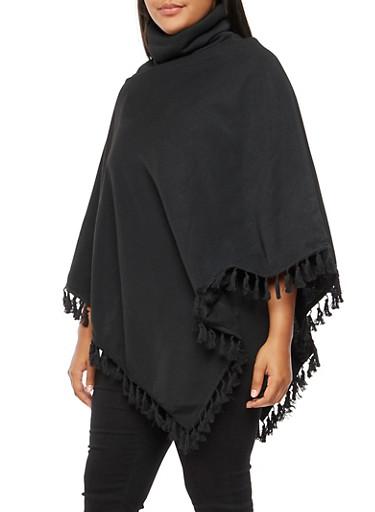 Plus Size Fringe Poncho,BLACK,large