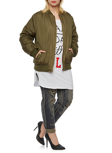 Plus Size Bomber Jacket with Zip Front,OLIVE,large
