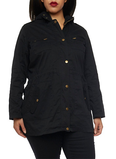 Plus Size Anorak Jacket with Drawstring,BLACK,large