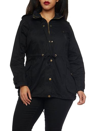 Plus Size Drawstring Hood Jacket,BLACK,large