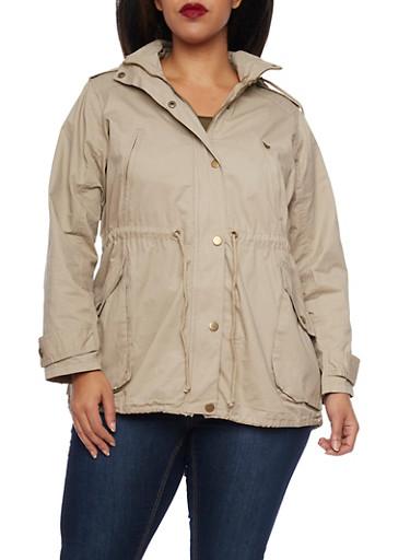 Plus Size Drawstring Hood Jacket,KHAKI,large