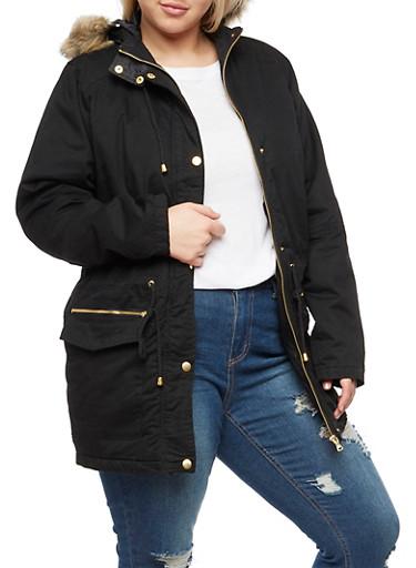 Plus Size Anorak Jacket with Faux Fur Hood at Rainbow Shops in Daytona Beach, FL   Tuggl