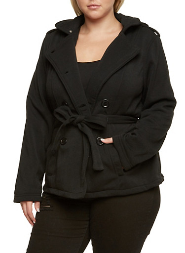 Plus Size Peacoat with Removable Hood and Waist Belt,BLACK,large