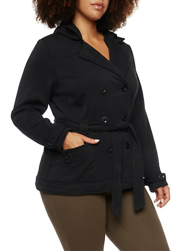 Plus Size Fleece Peacoat with Hood and Belt,BLACK,large