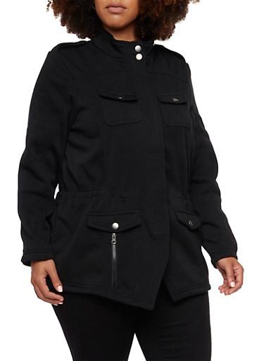 Plus Size Fleece Jacket,BLACK,large