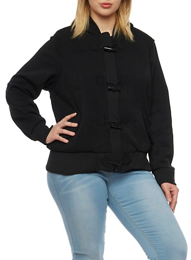 Plus Size Knit Jacket with Sherpa Lined Hood,BLACK,large