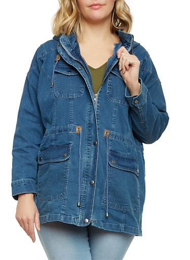 Plus Size Denim Anorak Jacket,MEDIUM WASH,large