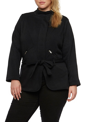 Plus Size Belted Fleece Jacket with Asymmetrical Zip Front,BLACK,large