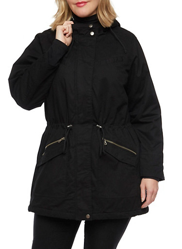Plus Size Hooded Jacket with Faux Fur Trim,BLACK,large