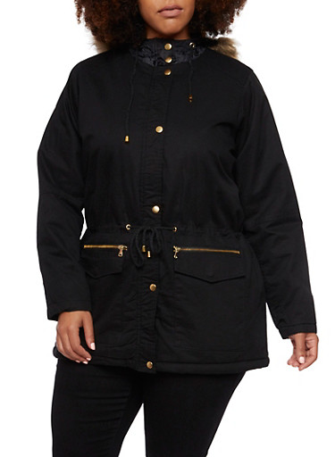 Plus Size Parka with Faux Fur Hood,BLACK,large