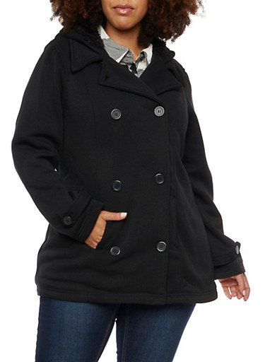 Plus Size Peacoat with Faux Shearling Lining,BLACK,large
