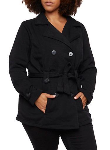 Plus Size Peacoat with Removable Waist Belt,BLACK,large