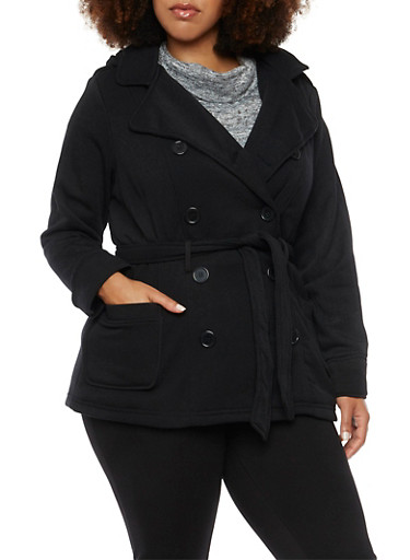 Plus Size Hooded Peacoat with Belt and Lining,BLACK,large