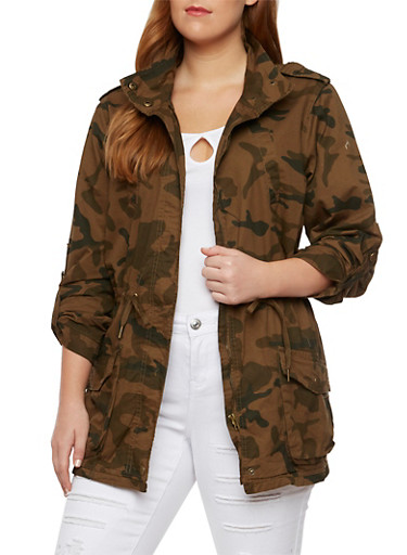 Plus Size Camo Jacket with Drawstring Waist,BROWN CAMO,large