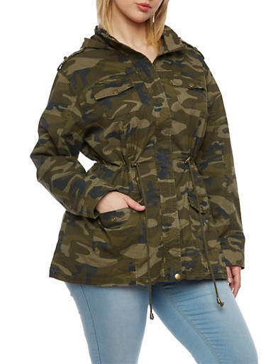Plus Size Camo Jacket with Hood and Drawstring Waist,BROWN CAMO,large
