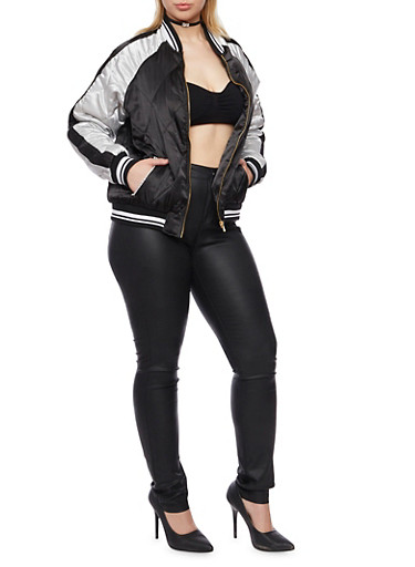 Plus Size Bomber Jacket with Diamond Quilting,BLACK,large
