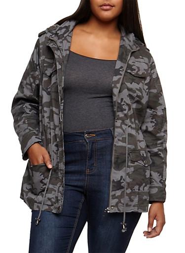 Plus Size Camo Anorak Jacket,GRAY,large