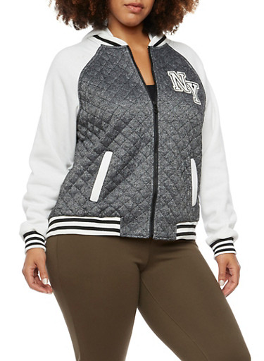 Plus Size Varsity Hoodie with Quilted Paneling,CHARCOAL,large