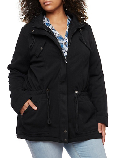 Plus Size Fleece Anorak Jacket with Kangaroo Pocket,BLACK,large