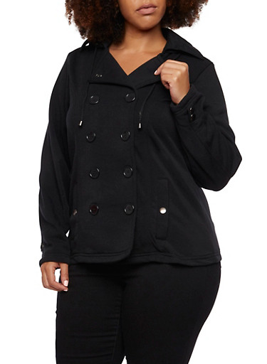 Plus Size Peacoat with Hood and Fleece Lining,BLACK,large