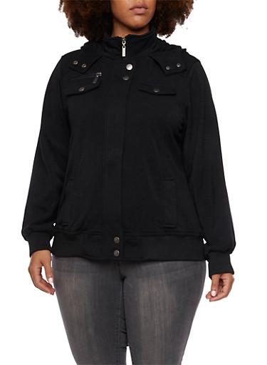 Plus Size Fleece Jacket with Hood,BLACK,large
